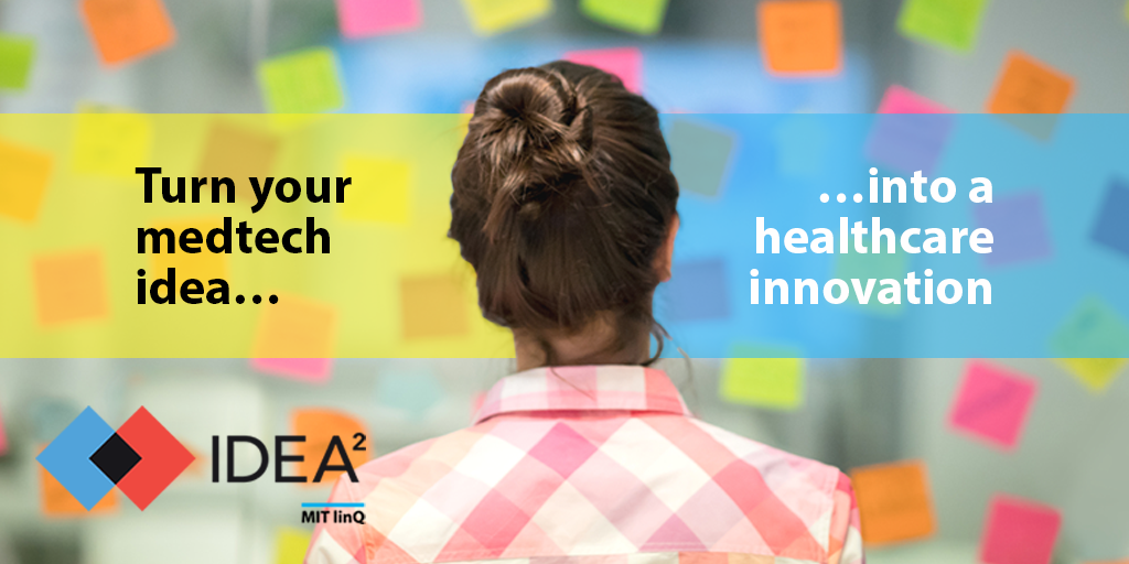 Young woman looking at wall of sticky notes, with caption Turn your medtech ideas into healthcare innovation